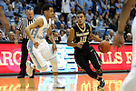 20 January 2016: Wake Forest's Mitchell Wilbekin (10) and North Carolina's Marcus Paige (5). The University of North Carolina Tar Heels hosted the Wake Forest University Demon Deacons at the Dean E. Smith Center in Chapel Hill, North Carolina in a 2015-16 NCAA Division I Men's Basketball game. UNC won the game 83-68.