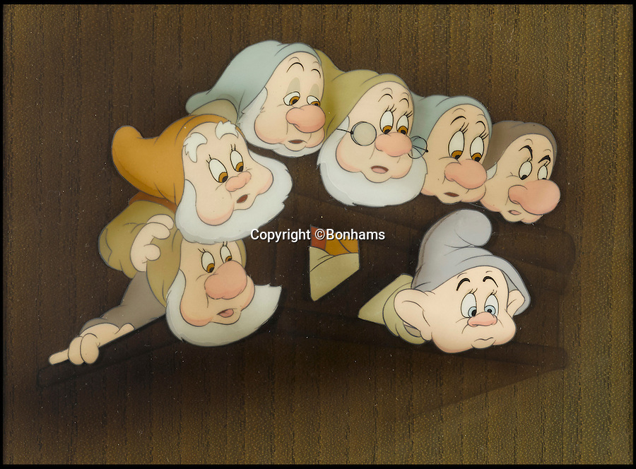 BNPS.co.uk (01202 558833)<br /> Pic: Bonhams/BNPS<br /> <br /> A celluloid which shows the seven dwarfs at the top of the stairs in the cottage sold for &pound;4,199.<br /> <br /> The sale of original art work from Snow White has revealed that dwarfs dubiously named Tubby, Baldy and Deafy only just missed out on making the final cut.<br /> <br /> The offensively-named trio were considered by the famous producer of animated films in the run up to the classic 1937 movie.<br /> <br /> Now 32 pieces of Snow White art work, including sketches of the dwarfs which were withdrawn from production, have come to light to reveal the dubious names which would be considered very un-PC today.