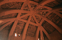 """World Civilization:  African Adobe Architecture-Entry house in Tahour, Niger.  """"Hausa Dome"""", saplings for ribs, adapted from tents when """" hausa wene Nomars"""".  Photo '91."""