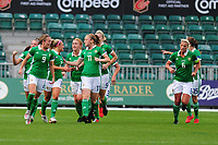 Simone Magill (L) of Northern Ireland celebrates scoring the opening goal during the UEFA Womens Euro Qualifier match between Wales and Northern Ireland at Rodney Parade in Newport, Wales, UK. Tuesday 03, September 2019