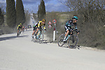 The peloton including Rafal Majka (POL) Bora-Hansgrohe on sector 2 Bagnaia during Strade Bianche 2019 running 184km from Siena to Siena, held over the white gravel roads of Tuscany, Italy. 9th March 2019.<br /> Picture: Eoin Clarke | Cyclefile<br /> <br /> <br /> All photos usage must carry mandatory copyright credit (&copy; Cyclefile | Eoin Clarke)