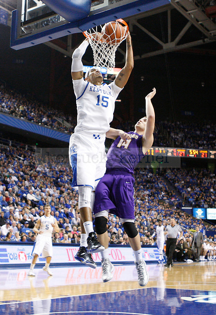 UK forward Willie Cauley-Stein dunks the ball during the first half of the UK men's basketball vs. Lipscomb University at Rupp Arena in Lexington, Ky., on Saturday, December 15, 2012. Photo by Tessa Lighty | Staff