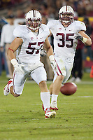LOS ANGELES, CA-OCTOBER 29,2011- The Stanford Cardinals defeated the USC Trojans 56-48. Max Bergen (57) during play against USC at the L.A. Coliseum in Los Angeles, CA.