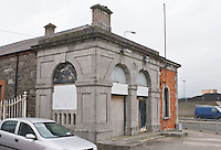 (DNGR) Dundalk Greenore railway station at Quay Street. South-west corner face dressed in Ashlar limestone.