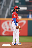 Buffalo Bisons second baseman Alen Hanson (31) during an International League game against the Scranton/Wilkes-Barre RailRiders on June 5, 2019 at Sahlen Field in Buffalo, New York.  Scranton defeated Buffalo 4-0, the second game of a doubleheader. (Mike Janes/Four Seam Images)