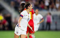 Commerce City, CO - Sunday April 07, 2019: The women's national teams of the United States (USA) and Belgium (BEL) play in an international friendly match at Banc of California Stadium.