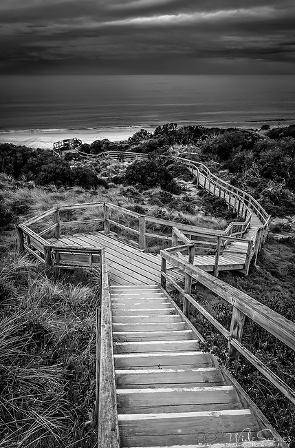 Stairway winds its way down to the beach on Bruny Island in Tasmania, Australia.