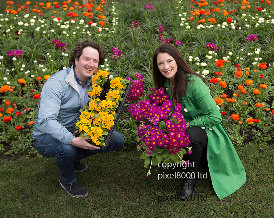 National Gardening week is promoted by Tv gardeners.Diarmuid Gavin and Rachel De Thame..They planted a giant Union Jack flag outside the Houses of Parliament today.15.4.13.....Pic by Gavin Rodgers/Pixel 8000 Ltd