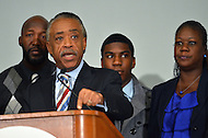 April 11, 2012  (Washington, DC)  Al Sharpton holds a news conference with the Trayvon Martin family, Sabrina Fulton (r) and Tracy Martin (l), at the Washington Convention Center April 11, 2012. (Photo by Don Baxter/Media Images International)