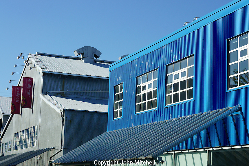 Corrugated metal buildings of the Emily Carr University of Art and Design, Granville Island, Vancouver, British Columbia, Canada