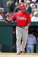 Philadelphia Phillies Carlos Ruiz #51 during a spring training game against the Baltimore Orioles at Bright House Field in Clearwater, Florida;  March 6, 2011.  Photo By Mike Janes/Four Seam Images