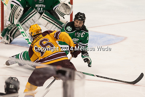 Nate Condon (MN - 16), Dillon Simpson (North Dakota - 18) - The University of Minnesota Golden Gophers defeated the University of North Dakota 2-1 on Thursday, April 10, 2014, at the Wells Fargo Center in Philadelphia to advance to the Frozen Four final.
