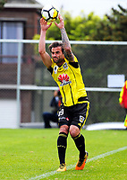 Tom Petty throws in during the A-league and ISPS Handa Premiership football preseason match between Wellington Phoenix and Team Wellington at Martin Luckie Park in Wellington, New Zealand on Saturday, 30 September 2017. Photo: Dave Lintott / lintottphoto.co.nz