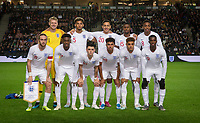England pre match team photo (back row l-r) Goalkeeper Aaron Ramsdale (Bournemouth), Lloyd Kelly (Bournemouth), Dwight McNeil (Burnley), Marc Guehi (Chelsea) & Joe Willock (Arsenal) (front row (l-r) Tom Davies (Everton), Callum Hudson-Odoi (Chelsea), Phil Foden (Manchester City), James Justin (Leicester City), Max Aarons (Norwich City) & Eddie Nketiah (Leeds United (on loan from Arsenal) of England U21 during the UEFA Euro U21 International qualifier match between England U21 and Austria U21 at Stadium MK, Milton Keynes, England on 15 October 2019. Photo by Andy Rowland.