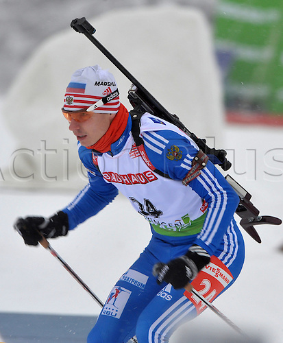 German Michael Greis shown in action during the Men's 10km Sprint at the Biathlon World Cup in Oberhof, Germany, 09 January 2010. Russian Ustyugov wins ahead of Greis and Swedish Bergmann.