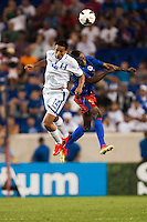 Honduras midfielder Andy Najar (14). Honduras defeated Haiti 2-0 during a CONCACAF Gold Cup group B match at Red Bull Arena in Harrison, NJ, on July 8, 2013.