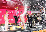 Simon Yates (GBR) Mitchelton-Scott retains the race leaders Maglia Rosa at the end of Stage 17 of the 2018 Giro d'Italia, The Franciacorta Stage running 155km from Riva del Garda to Iseo, Italy. 23rd May 2018.<br /> Picture: LaPresse/Gian Mattia D'Alberto | Cyclefile<br /> <br /> <br /> All photos usage must carry mandatory copyright credit (&copy; Cyclefile | LaPresse/Gian Mattia D'Alberto)