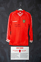 Ian Rushs' 1987/90 Wales home shirt is displayed at The Art of the Wales Shirt Exhibition at St Fagans National Museum of History in Cardiff, Wales, UK. Monday 11 November 2019