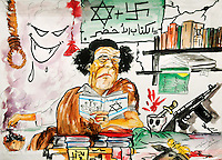 A cartoon drawing of Gaddifi on a wall in Benghazi portraying him as a Jew. On 17 February 2011 Libya saw the beginnings of a revolution against the 41 year regime of Col Muammar Gaddafi.