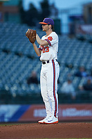 Clemson Tigers starting pitcher Charlie Barnes (23) looks to his catcher for the sign against the Duke Blue Devils in Game Three of the 2017 ACC Baseball Championship at Louisville Slugger Field on May 23, 2017 in Louisville, Kentucky. The Blue Devils defeated the Tigers 6-3. (Brian Westerholt/Four Seam Images)