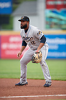 Akron RubberDucks first baseman Nellie Rodriguez (12) during an Eastern League game against the Erie SeaWolves on June 2, 2019 at UPMC Park in Erie, Pennsylvania.  Akron defeated Erie 7-2 in the first game of a doubleheader.  (Mike Janes/Four Seam Images)