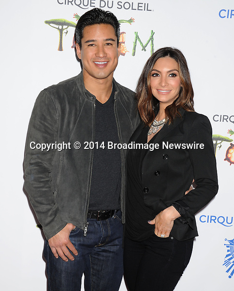 Pictured: Mario Lopez and wife Courtney Mazza<br /> Mandatory Credit &copy; Gilbert Flores/Broadimage<br /> Cirque du Soleil Totem - Celebrity Opening <br /> <br /> 1/21/14, Santa Monica, California, United States of America<br /> <br /> Broadimage Newswire<br /> Los Angeles 1+  (310) 301-1027<br /> New York      1+  (646) 827-9134<br /> sales@broadimage.com<br /> http://www.broadimage.com