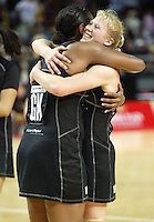 Silver Ferns Vilimaina Davu and Laura Langman celebrate after the netball test match between the Silver Ferns v Australia played at the Sydney Superdome, Sydney Australia, 29th June 2005. The Silver Ferns won 50-43. ©Michael Bradley