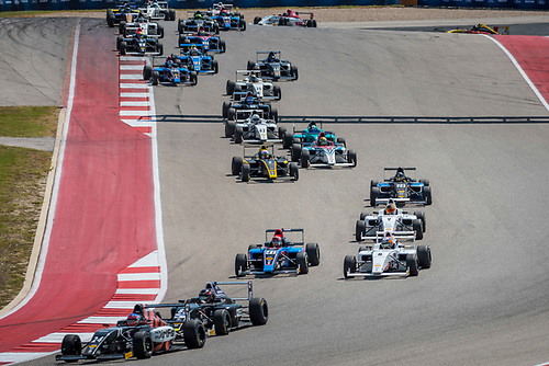 F4 US Championship<br /> Rounds 16-17-18<br /> Circuit of The Americas, Austin, TX USA<br /> Friday 15 September 2017<br /> 24, Benjamin Pedersen 85, Dakota Dickerson 8, Kyle Kirkwood, Start<br /> World Copyright: Keith Daniel Rizzo<br /> LAT Images