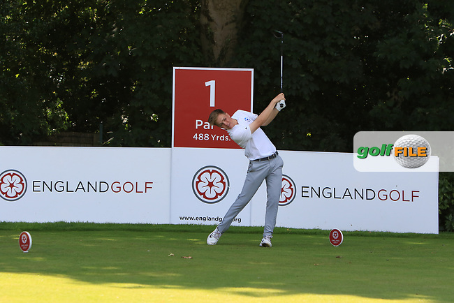 Rory Franssen (Scotland) on the 1st tee during Day 2 Singles of the Home Internationals at Moortown Golf Club, Leeds, England. 17/08/2017<br /> Picture: Golffile | Thos Caffrey<br /> <br /> All photo usage must carry mandatory copyright credit     (&copy; Golffile | Thos Caffrey)