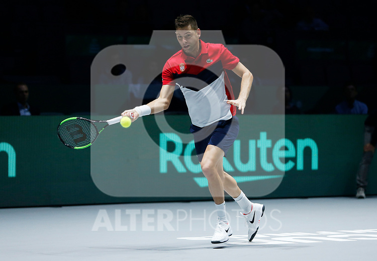 Filip Krajinovic of Serbia plays a forehand against Andrey Rublev of Russia during Day 5 of the 2019 Davis Cup at La Caja Magica on November 22, 2019 in Madrid, Spain. (ALTERPHOTOS/Manu R.B.)