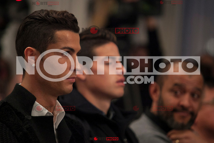 Real Madrid´s Cristiano Ronaldo (L) and James Rodriguez attend Jorge Mendes´s book presentation in Madrid, Spain. January 22, 2015. (ALTERPHOTOS/Victor Blanco) /NortePhoto<br /> NortePhoto.com