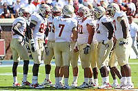 Oct 2, 2010; Charlottesville, VA, USA; The Florida State offense during the game against the Virginia Cavaliers at Scott Stadium. Florida State won 34-14.  Mandatory Credit: Andrew Shurtleff-