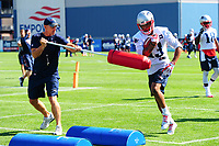 July 28, 2017: New England Patriots wide receivers coach Chad O'Shea works with wide receiver Devin Lucien (13) on a drill at the New England Patriots training camp held at Gillette Stadium, in Foxborough, Massachusetts. Eric Canha/CSM