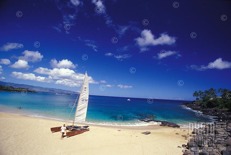 Catamaran on Waimea Bay, North Nhore on the Island of Oahu