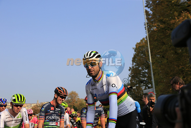 World Champion Alejandro Valverde (ESP) Movistar Team and the riders line up before the start of the 112th edition of Il Lombardia 2018, the final monument of the season running 241km from Bergamo to Como, Lombardy, Italy. 13th October 2018.<br /> Picture: Eoin Clarke | Cyclefile<br /> <br /> <br /> All photos usage must carry mandatory copyright credit (© Cyclefile | Eoin Clarke)