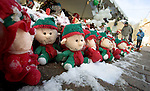 NEWTOWN, CT. 25 December 2012-122512SV04-A row of elves with names on them sits along an ever-growing memorial in Sandy Hook on Christmas Day in Newtown Tuesday..Steven Valenti Republican-American
