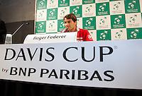 14-09-12, Netherlands, Amsterdam, Tennis, Daviscup Netherlands-Suiss, Pressconference with Roger Federer