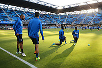 San Jose, CA - Wednesday May 17, 2017: Victor Bernardez, Fatai Alashe prior to a Major League Soccer (MLS) match between the San Jose Earthquakes and Orlando City SC at Avaya Stadium.