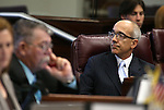 Nevada Sen. Mo Denis, D-Las Vegas, works on the Senate floor at the Legislative Building in Carson City, Nev., on Monday, Feb. 16, 2015. <br /> Photo by Cathleen Allison