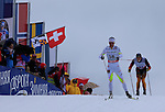 Skiers during the FIS Ski World Cup Men' 15 Km Individual Classic, on February 1, 2014 in Dobbiaco, Toblach. <br /> <br /> &copy; Pierre Teyssot