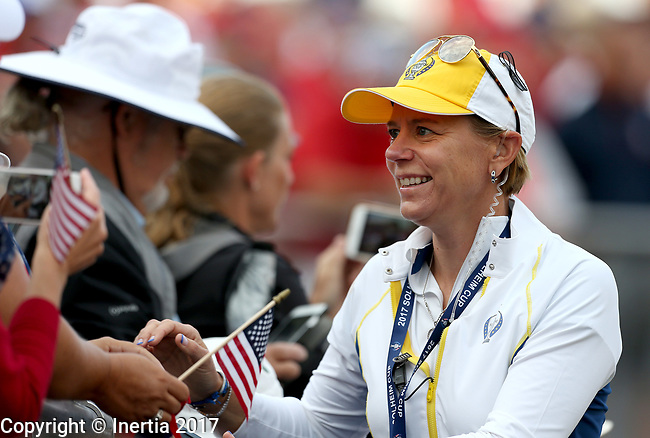 DES MOINES, IA - AUGUST 18: European captain Annika Sorenstam greets fans at the 2017 Solheim Cup in Des Moines, IA. (Photo by Dave Eggen/Inertia)