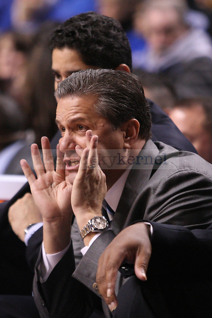 UK head coach John Calipari yells out a play during the second half of the University of Kentucky men's basketball game vs. Boise State at Rupp Arena in Lexington, Ky., on Tuesday, December, 10, 2013. UK won 70-55. Photo by Jonathan Krueger | Staff