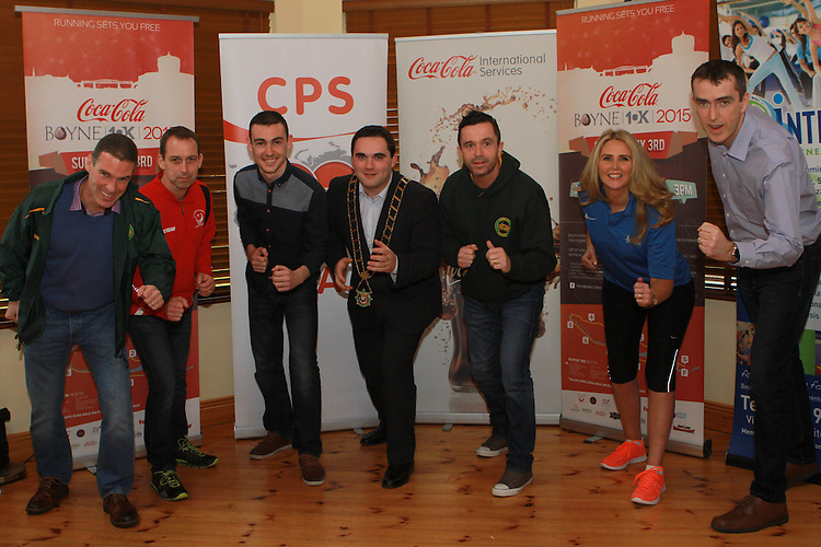 Liam Cooney of Boyne AC, David Gough of Drogheda and District AC, Shane Leavy, Coca Cola, Mayor Kevin Callan, Gary Kelly, Lorraine Balfe, Integral and Declan Monaghan, Boyne 10km Committee at the Launch of the Boyne 10km in the Gary Kelly Centre.