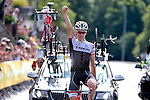 Bob Jungels (LUX) Trek Factory Racing celebrates after winning his National Road Race Championship. 28th June 2015. <br /> Photo:Trek Factory Racing/www.newsfile.ie