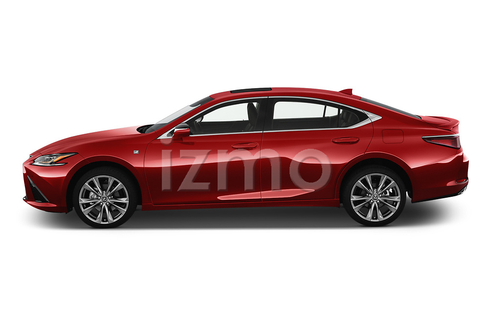 Car Driver side profile view of a 2020 Lexus ES-350 F-Sport 4 Door Sedan Side View