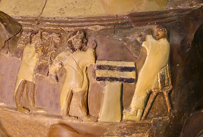 Hüseyindede vases, Old Hittite Polychrome Relief vessel, close up  depicting a ceremony at a sacrificial altar, 16th century BC. . Çorum Archaeological Museum, Corum, Turkey