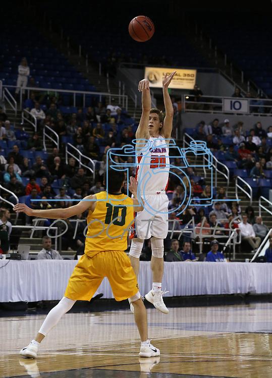 Bishop Gorman's Noah Taitz shoots over Bishop Manogue defender Kolton Frugoli during the 4A NIAA state basketball championship game in Reno, Nev., on Friday, Feb. 23, 2018. Gorman won 62-41. Cathleen Allison/Las Vegas Review-Journal