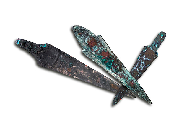 Hittite bronze spear heads. Hittite Period 1650 - 1450 BC.  Hattusa Boğazkale. Çorum Archaeological Museum, Corum, Turkey. Against a white bacground.