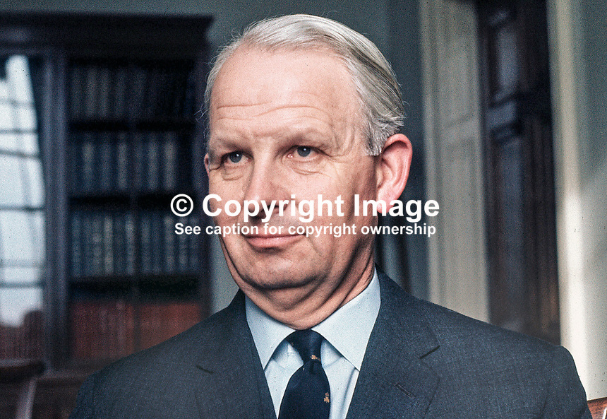 Brian Faulkner, Ulster Unionist MP, speaking in the Main Hall at Stormont, after his selection as Prime Minister of N Ireland. 172/71, 197103220172<br />