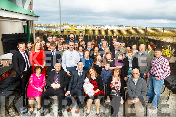 Baby Cathal Farmer with parents Trevor and Ann surrounded by family and friends at his christening party in the Station House, Blennerville on Sunday afternoon last.